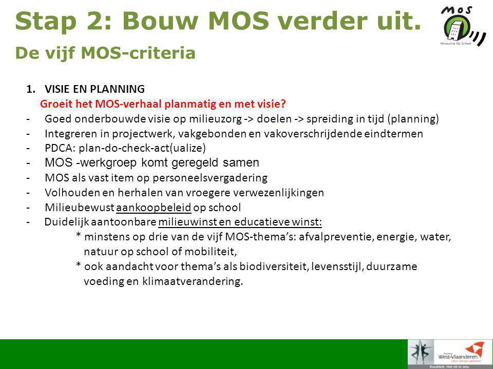 Stap 2: Bouw MOS verder uit.De vijf MOS-criteria 2.