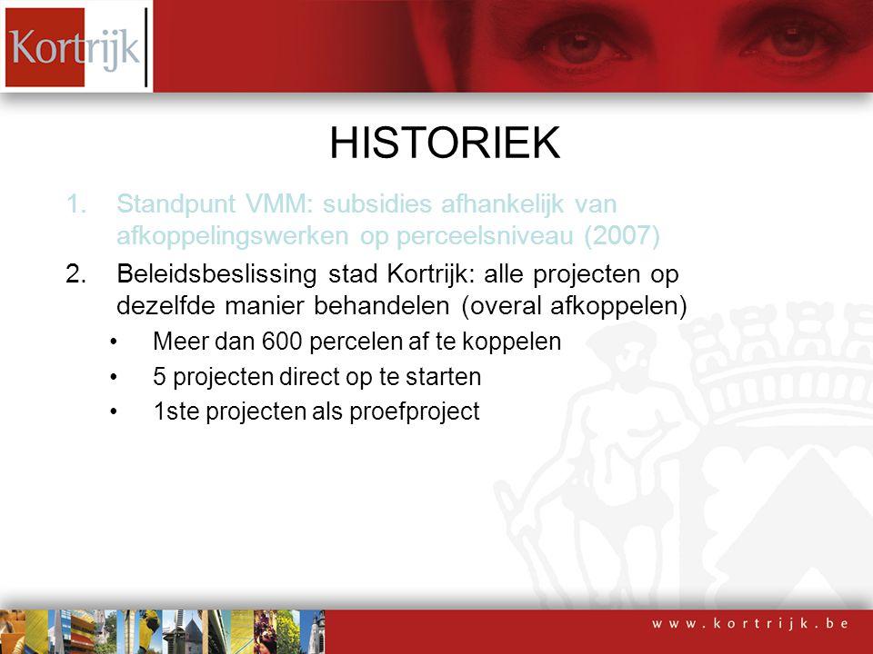 HISTORIEK 1.Standpunt VMM: subsidies afhankelijk van afkoppelingswerken op perceelsniveau (2007) 2.Beleidsbeslissing stad Kortrijk: alle projecten op dezelfde manier behandelen (overal afkoppelen) 3.Subsidiereglement Goedkeuring april 2008 Wijziging september 2008
