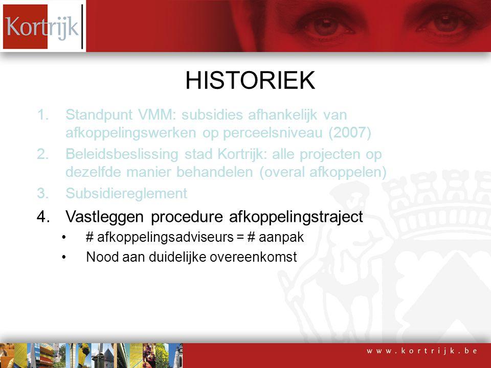 HISTORIEK 1.Standpunt VMM: subsidies afhankelijk van afkoppelingswerken op perceelsniveau (2007) 2.Beleidsbeslissing stad Kortrijk: alle projecten op