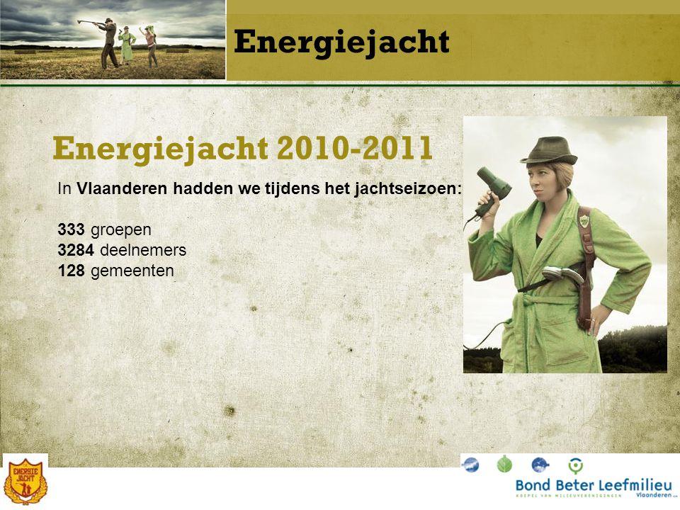 Energiejacht 2010-2011 Energiejacht In Vlaanderen hadden we tijdens het jachtseizoen: 333 groepen 3284 deelnemers 128 gemeenten
