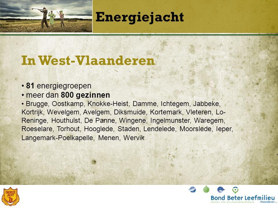 In West-Vlaanderen Energiejacht 81 energiegroepen meer dan 800 gezinnen Brugge, Oostkamp, Knokke-Heist, Damme, Ichtegem, Jabbeke, Kortrijk, Wevelgem, Avelgem, Diksmuide, Kortemark, Vleteren, Lo- Reninge, Houthulst, De Panne, Wingene, Ingelmunster, Waregem, Roeselare, Torhout, Hooglede, Staden, Lendelede, Moorslede, Ieper, Langemark-Poelkapelle, Menen, Wervik