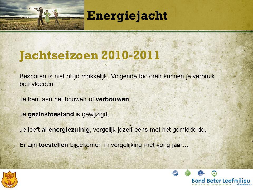 Jachtseizoen 2010-2011 Energiejacht Besparen is niet altijd makkelijk.
