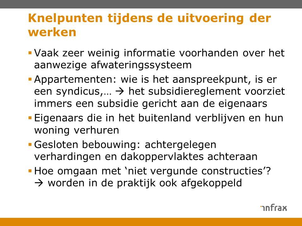 Knelpunten tijdens de uitvoering der werken  Vaak zeer weinig informatie voorhanden over het aanwezige afwateringssysteem  Appartementen: wie is het