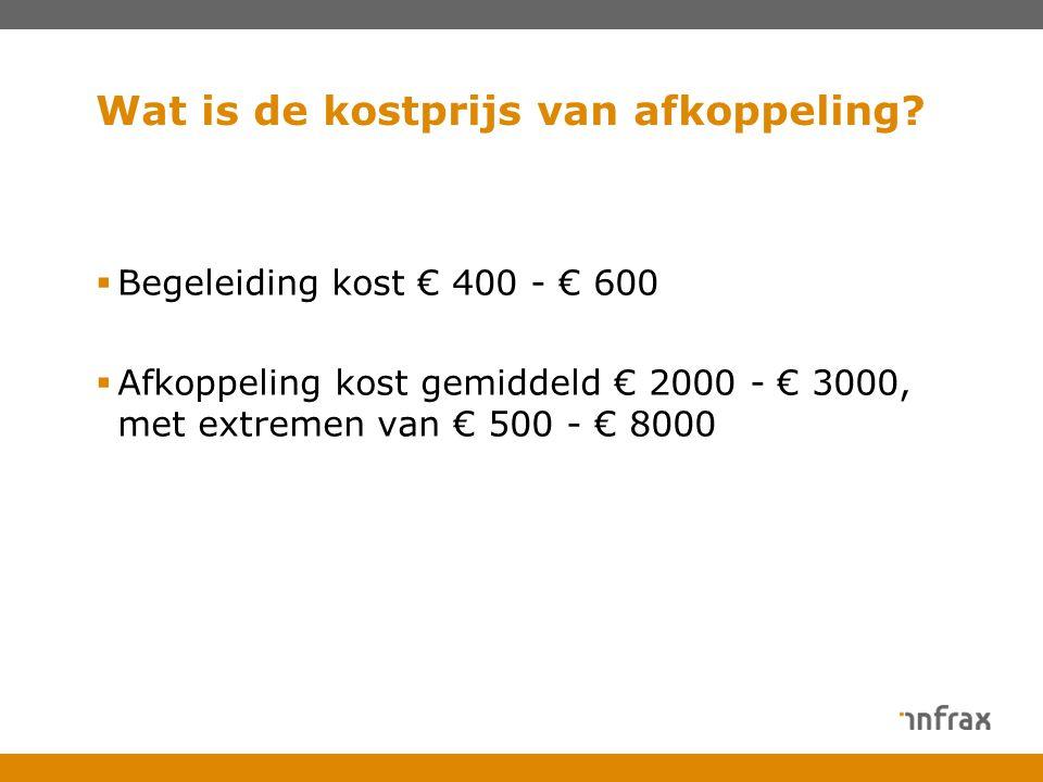 Wat is de kostprijs van afkoppeling?  Begeleiding kost € 400 - € 600  Afkoppeling kost gemiddeld € 2000 - € 3000, met extremen van € 500 - € 8000