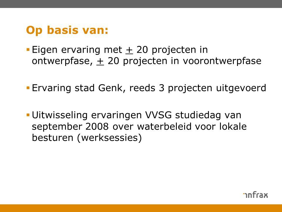 Op basis van:  Eigen ervaring met + 20 projecten in ontwerpfase, + 20 projecten in voorontwerpfase  Ervaring stad Genk, reeds 3 projecten uitgevoerd