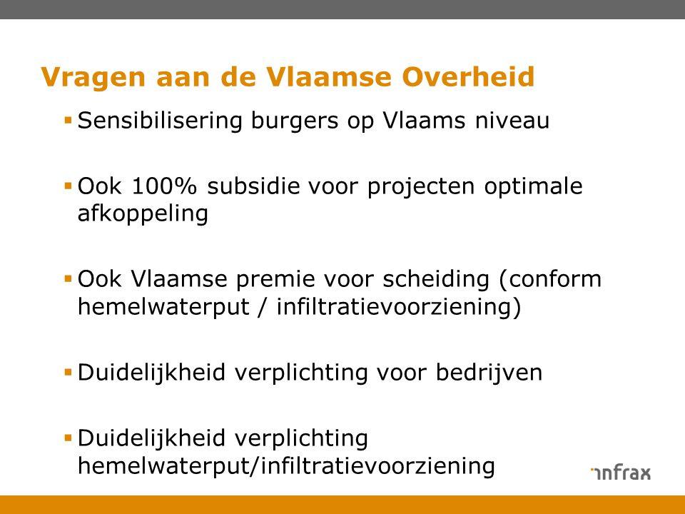  Sensibilisering burgers op Vlaams niveau  Ook 100% subsidie voor projecten optimale afkoppeling  Ook Vlaamse premie voor scheiding (conform hemelw