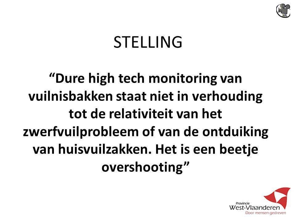 STELLING Dure high tech monitoring van vuilnisbakken staat niet in verhouding tot de relativiteit van het zwerfvuilprobleem of van de ontduiking van huisvuilzakken.