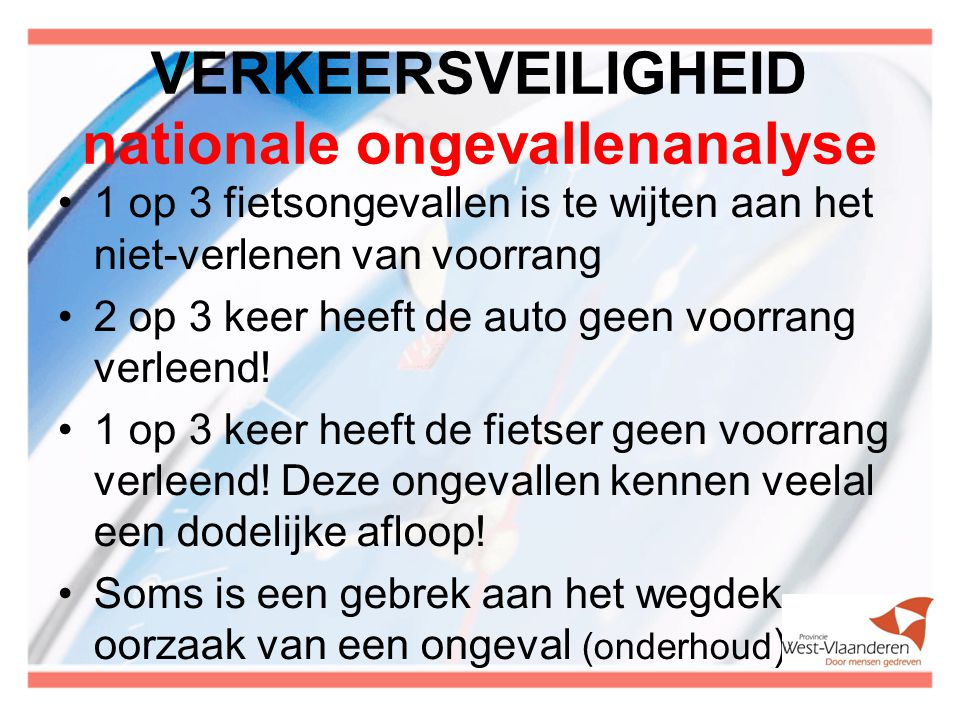 VERKEERSVEILIGHEID nationale ongevallenanalyse 1 op 3 fietsongevallen is te wijten aan het niet-verlenen van voorrang 2 op 3 keer heeft de auto geen v