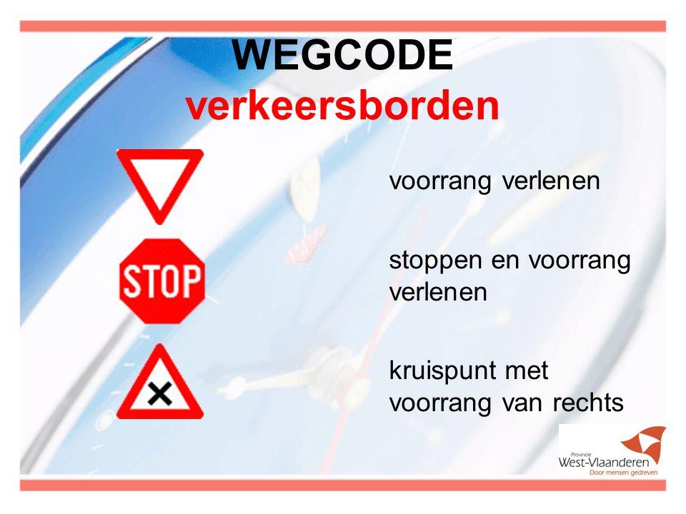 WEGCODE verkeersborden voorrang verlenen stoppen en voorrang verlenen kruispunt met voorrang van rechts