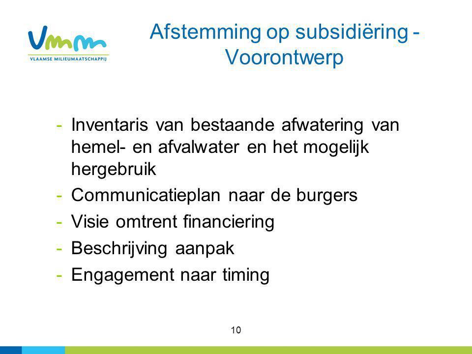 10 Afstemming op subsidiëring - Voorontwerp -Inventaris van bestaande afwatering van hemel- en afvalwater en het mogelijk hergebruik -Communicatieplan