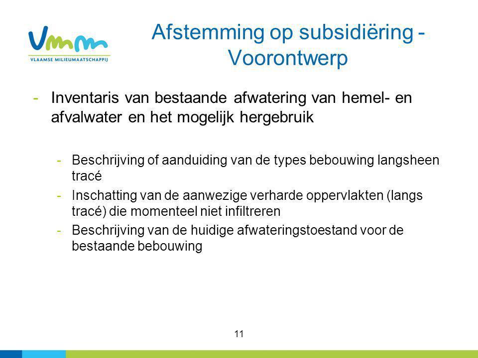 11 Afstemming op subsidiëring - Voorontwerp -Inventaris van bestaande afwatering van hemel- en afvalwater en het mogelijk hergebruik -Beschrijving of