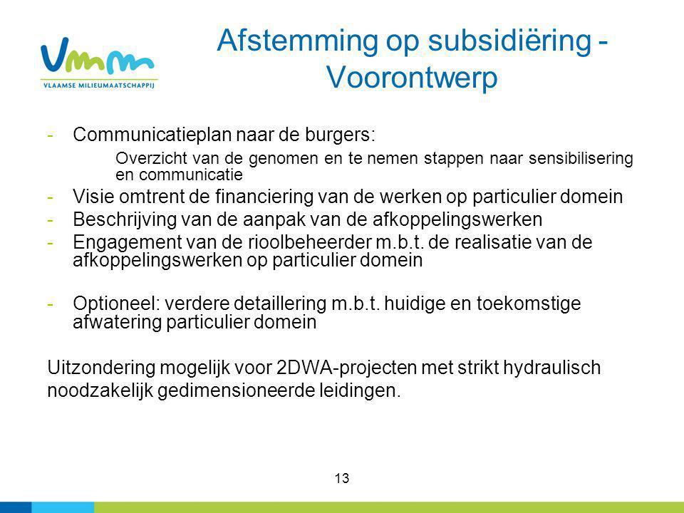 13 Afstemming op subsidiëring - Voorontwerp -Communicatieplan naar de burgers: Overzicht van de genomen en te nemen stappen naar sensibilisering en co