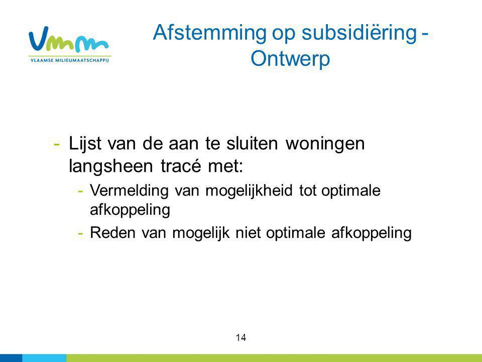 14 Afstemming op subsidiëring - Ontwerp -Lijst van de aan te sluiten woningen langsheen tracé met: -Vermelding van mogelijkheid tot optimale afkoppeli