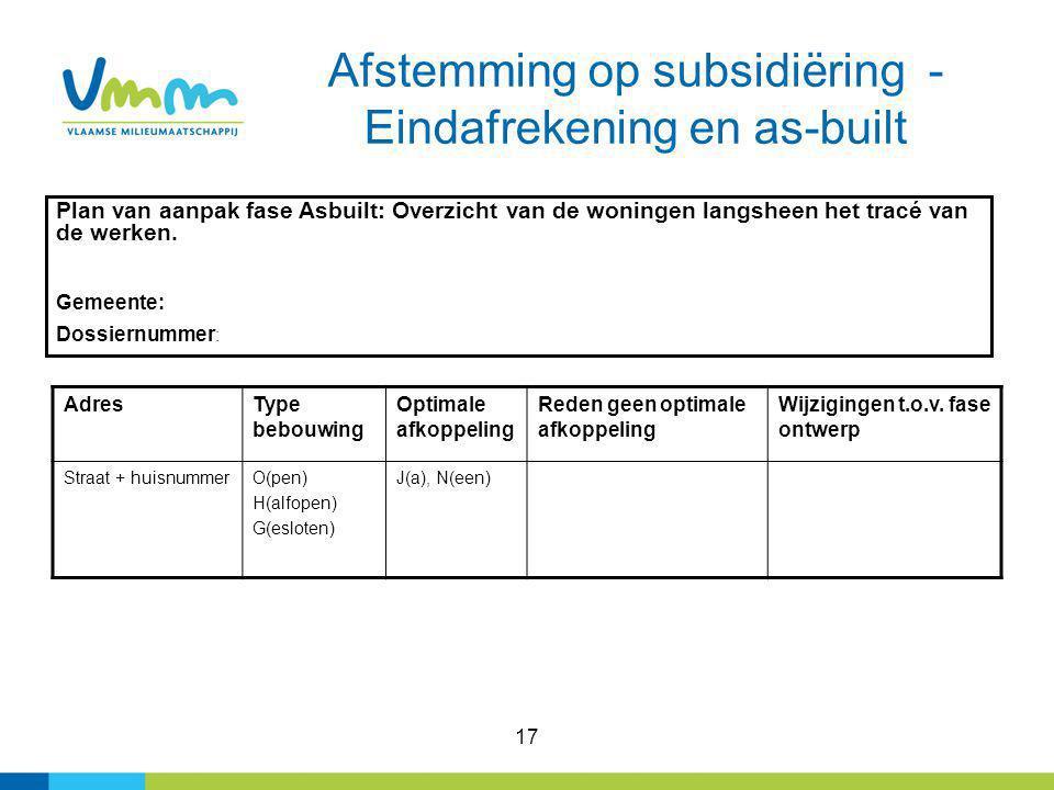 17 Afstemming op subsidiëring - Eindafrekening en as-built Plan van aanpak fase Asbuilt: Overzicht van de woningen langsheen het tracé van de werken.