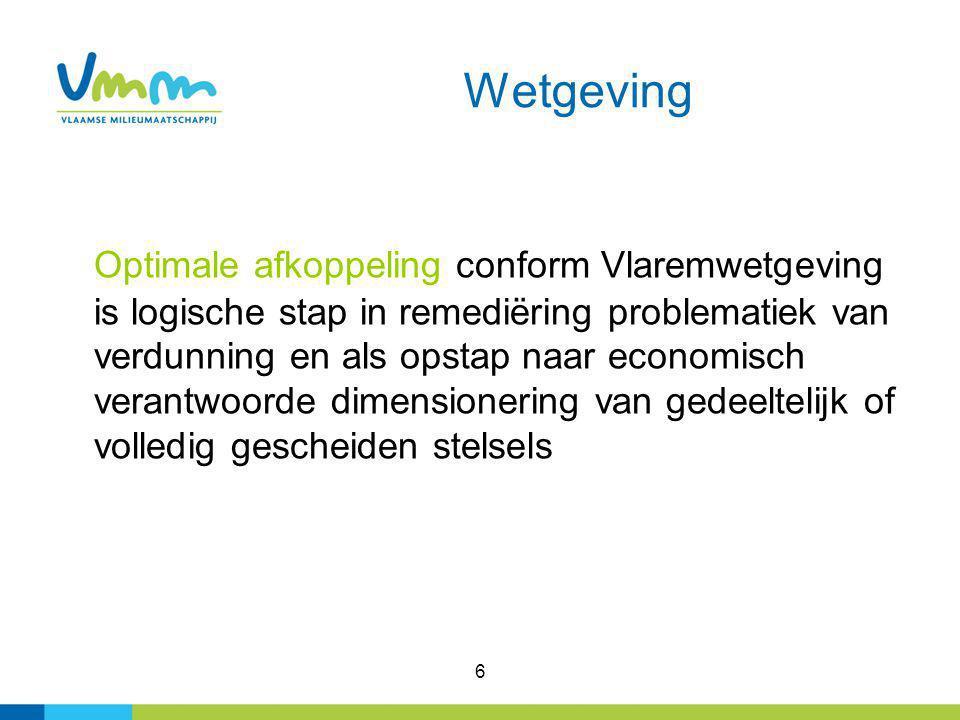 6 Wetgeving Optimale afkoppeling conform Vlaremwetgeving is logische stap in remediëring problematiek van verdunning en als opstap naar economisch ver