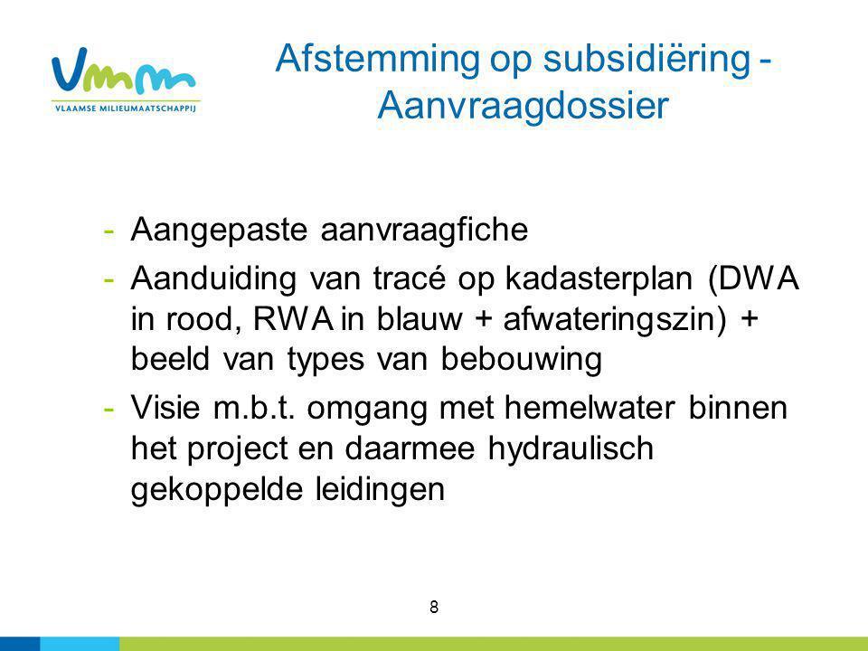 8 -Aangepaste aanvraagfiche -Aanduiding van tracé op kadasterplan (DWA in rood, RWA in blauw + afwateringszin) + beeld van types van bebouwing -Visie