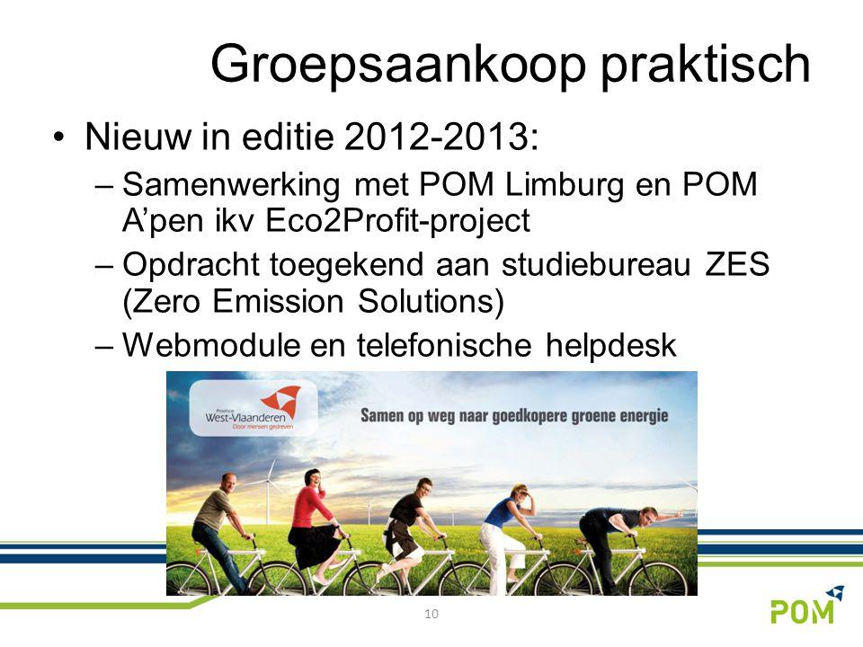 Nieuw in editie 2012-2013: –Samenwerking met POM Limburg en POM A'pen ikv Eco2Profit-project –Opdracht toegekend aan studiebureau ZES (Zero Emission Solutions) –Webmodule en telefonische helpdesk 10 Groepsaankoop praktisch