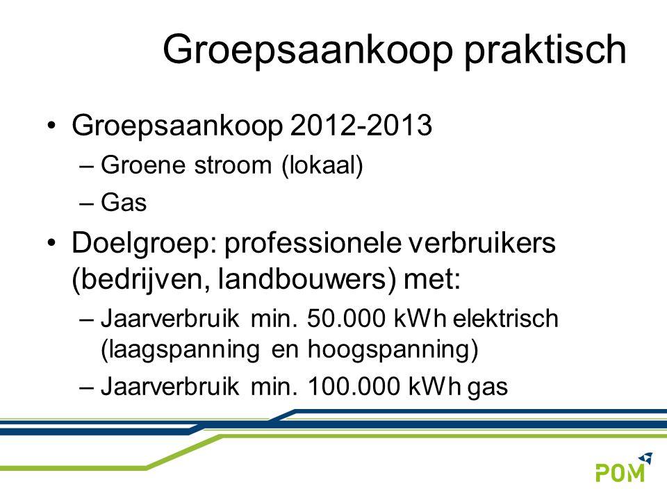 Groepsaankoop 2012-2013 –Groene stroom (lokaal) –Gas Doelgroep: professionele verbruikers (bedrijven, landbouwers) met: –Jaarverbruik min.