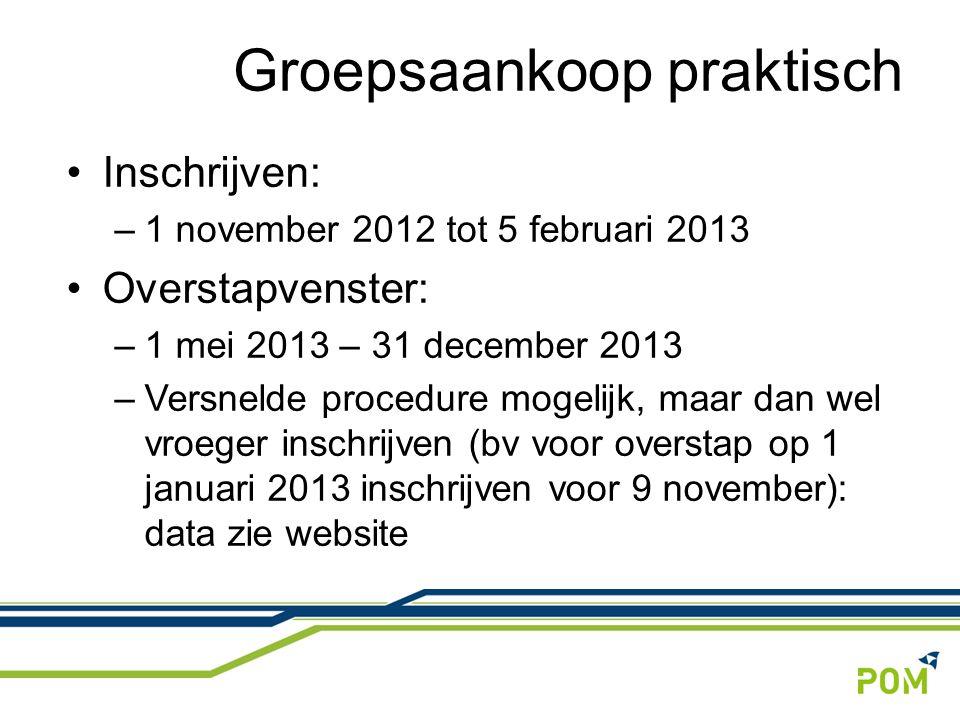 Inschrijven: –1 november 2012 tot 5 februari 2013 Overstapvenster: –1 mei 2013 – 31 december 2013 –Versnelde procedure mogelijk, maar dan wel vroeger