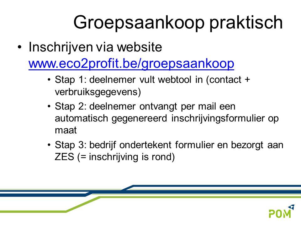 Inschrijven via website www.eco2profit.be/groepsaankoop www.eco2profit.be/groepsaankoop Stap 1: deelnemer vult webtool in (contact + verbruiksgegevens) Stap 2: deelnemer ontvangt per mail een automatisch gegenereerd inschrijvingsformulier op maat Stap 3: bedrijf ondertekent formulier en bezorgt aan ZES (= inschrijving is rond) Groepsaankoop praktisch