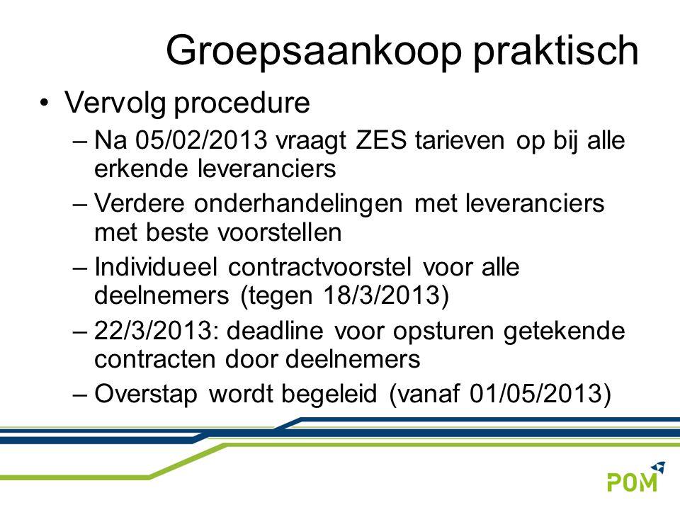 Vervolg procedure –Na 05/02/2013 vraagt ZES tarieven op bij alle erkende leveranciers –Verdere onderhandelingen met leveranciers met beste voorstellen –Individueel contractvoorstel voor alle deelnemers (tegen 18/3/2013) –22/3/2013: deadline voor opsturen getekende contracten door deelnemers –Overstap wordt begeleid (vanaf 01/05/2013) Groepsaankoop praktisch