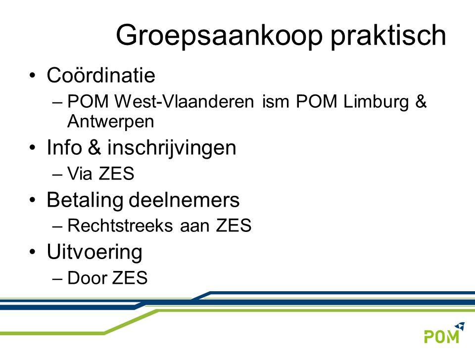 Coördinatie –POM West-Vlaanderen ism POM Limburg & Antwerpen Info & inschrijvingen –Via ZES Betaling deelnemers –Rechtstreeks aan ZES Uitvoering –Door ZES Groepsaankoop praktisch