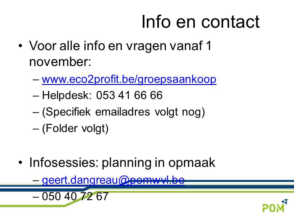 Info en contact Voor alle info en vragen vanaf 1 november: –www.eco2profit.be/groepsaankoopwww.eco2profit.be/groepsaankoop –Helpdesk: 053 41 66 66 –(S