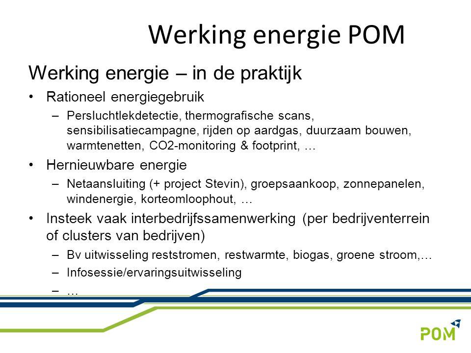 Werking energie – in de praktijk Rationeel energiegebruik –Persluchtlekdetectie, thermografische scans, sensibilisatiecampagne, rijden op aardgas, duurzaam bouwen, warmtenetten, CO2-monitoring & footprint, … Hernieuwbare energie –Netaansluiting (+ project Stevin), groepsaankoop, zonnepanelen, windenergie, korteomloophout, … Insteek vaak interbedrijfssamenwerking (per bedrijventerrein of clusters van bedrijven) –Bv uitwisseling reststromen, restwarmte, biogas, groene stroom,… –Infosessie/ervaringsuitwisseling –… Werking energie POM