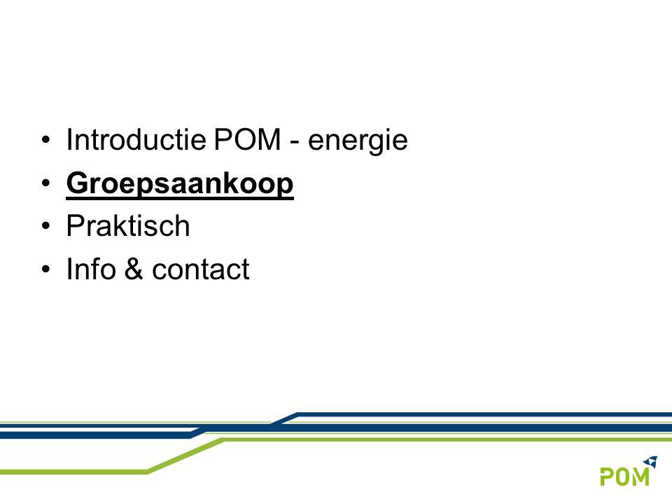 7 Doelgroep POM Vorige edities: Professionele contracten Kleine verbruikers KMO's Grote industriële verbruikers jaarelektriciteit en/of gasdeelnemers cumulatief GWh gerealiseerd voordeel (€) 2006elektriciteit114,5 36.000 2007elektriciteit178,7 115.183 2009elektriciteit + gas3021,7 338.800 2010elektriciteit + gas4639,5 137.952 2011elektriciteit (groen) + gas149// Groepsaankoop