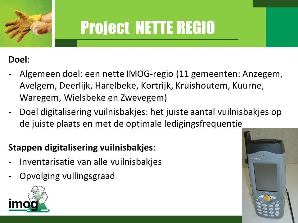 Project NETTE REGIO Doel: -Algemeen doel: een nette IMOG-regio (11 gemeenten: Anzegem, Avelgem, Deerlijk, Harelbeke, Kortrijk, Kruishoutem, Kuurne, Wa