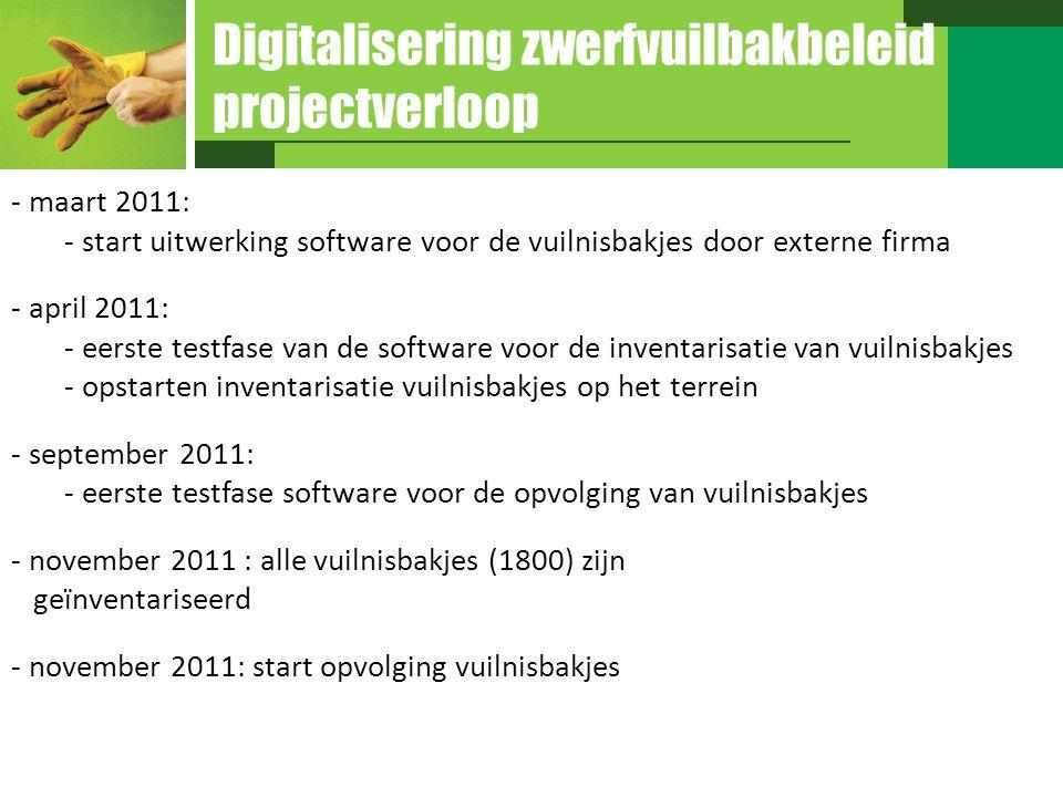 Digitalisering zwerfvuilbakbeleid projectverloop - maart 2011: - start uitwerking software voor de vuilnisbakjes door externe firma - april 2011: - ee