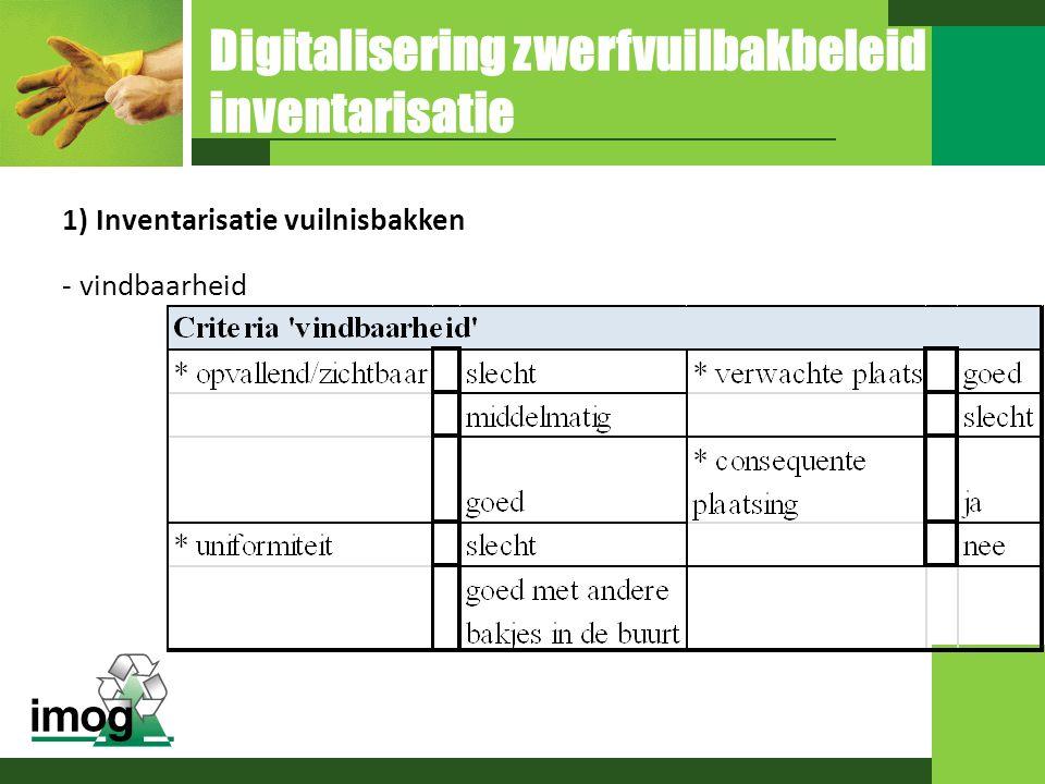 Digitalisering zwerfvuilbakbeleid inventarisatie 1) Inventarisatie vuilnisbakken - vindbaarheid