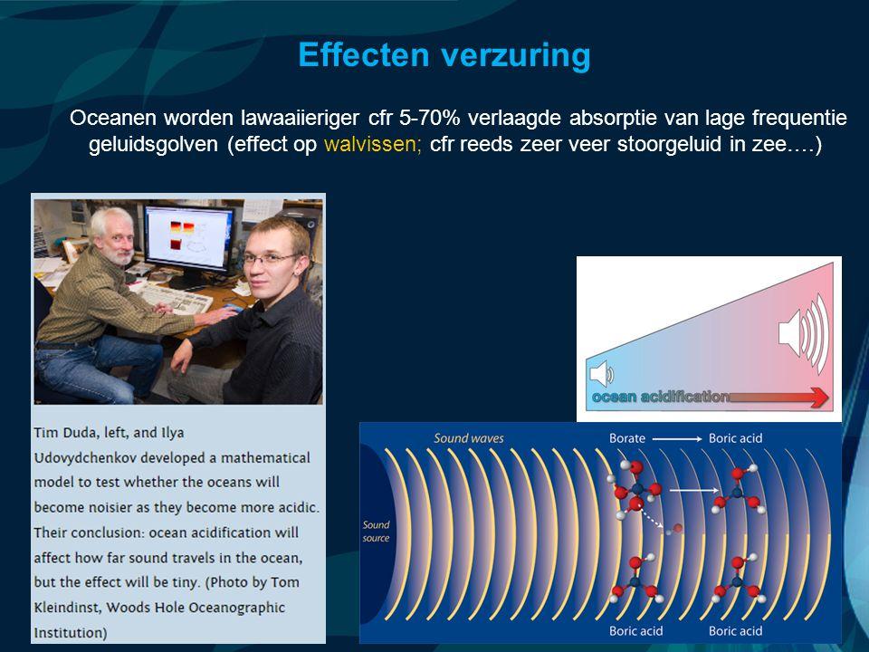 VormingPlus Oostende 29 april 08 Oceanen worden lawaaiieriger cfr 5-70% verlaagde absorptie van lage frequentie geluidsgolven (effect op walvissen; cfr reeds zeer veer stoorgeluid in zee….) Effecten verzuring
