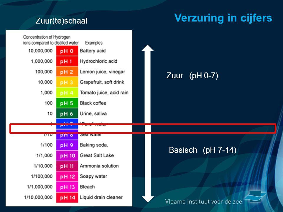 VormingPlus Oostende 29 april 08 Verzuring in cijfers Zuur (pH 0-7) Basisch (pH 7-14) Zuur(te)schaal