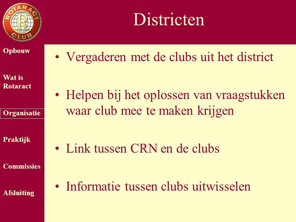 Opbouw Wat is Rotaract Organisatie Praktijk Commissies Afsluiting Districten Vergaderen met de clubs uit het district Helpen bij het oplossen van vraagstukken waar club mee te maken krijgen Link tussen CRN en de clubs Informatie tussen clubs uitwisselen
