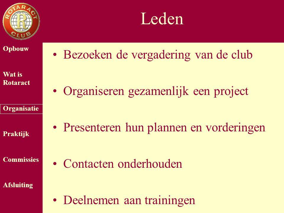 Opbouw Wat is Rotaract Organisatie Praktijk Commissies Afsluiting Leden Bezoeken de vergadering van de club Organiseren gezamenlijk een project Presen