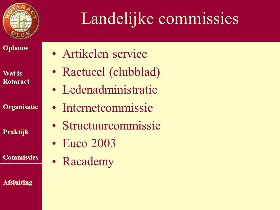 Opbouw Wat is Rotaract Organisatie Praktijk Commissies Afsluiting Landelijke commissies Artikelen service Ractueel (clubblad) Ledenadministratie Inter