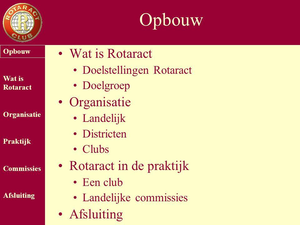 Opbouw Wat is Rotaract Organisatie Praktijk Commissies Afsluiting Opbouw Wat is Rotaract Doelstellingen Rotaract Doelgroep Organisatie Landelijk Distr