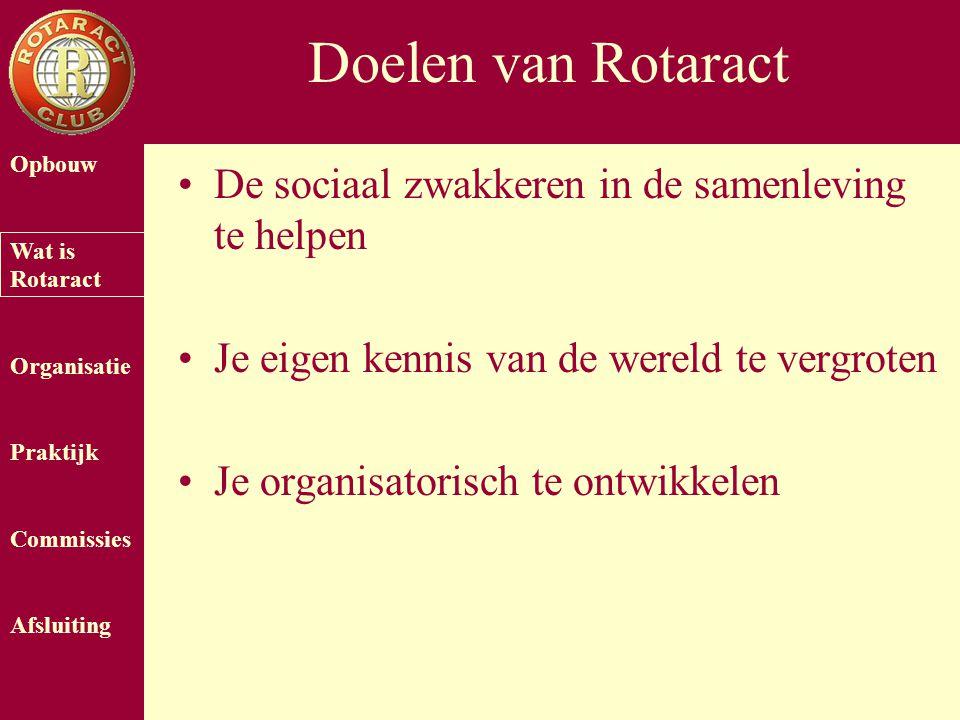 Opbouw Wat is Rotaract Organisatie Praktijk Commissies Afsluiting Doelen van Rotaract De sociaal zwakkeren in de samenleving te helpen Je eigen kennis van de wereld te vergroten Je organisatorisch te ontwikkelen