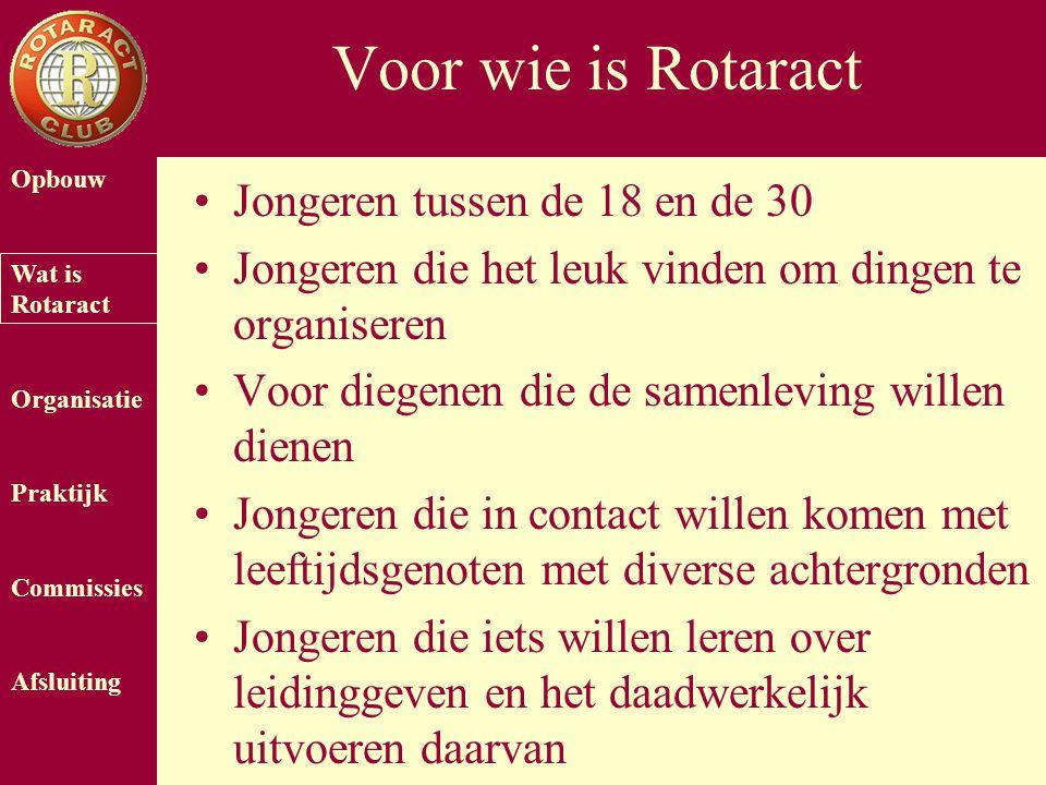 Opbouw Wat is Rotaract Organisatie Praktijk Commissies Afsluiting Voor wie is Rotaract Jongeren tussen de 18 en de 30 Jongeren die het leuk vinden om
