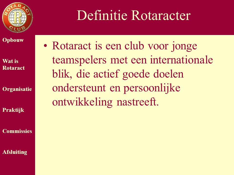Opbouw Wat is Rotaract Organisatie Praktijk Commissies Afsluiting Definitie Rotaracter Rotaract is een club voor jonge teamspelers met een internationale blik, die actief goede doelen ondersteunt en persoonlijke ontwikkeling nastreeft.