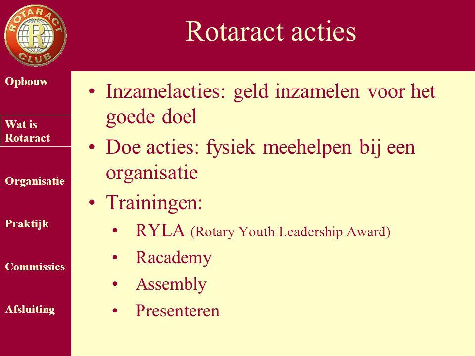 Opbouw Wat is Rotaract Organisatie Praktijk Commissies Afsluiting Rotaract acties Inzamelacties: geld inzamelen voor het goede doel Doe acties: fysiek meehelpen bij een organisatie Trainingen: RYLA (Rotary Youth Leadership Award) Racademy Assembly Presenteren
