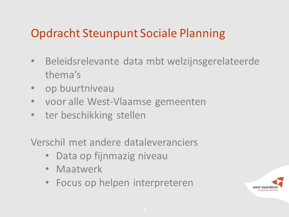 44 Opdracht Steunpunt Sociale Planning Beleidsrelevante data mbt welzijnsgerelateerde thema's op buurtniveau voor alle West-Vlaamse gemeenten ter beschikking stellen Verschil met andere dataleveranciers Data op fijnmazig niveau Maatwerk Focus op helpen interpreteren
