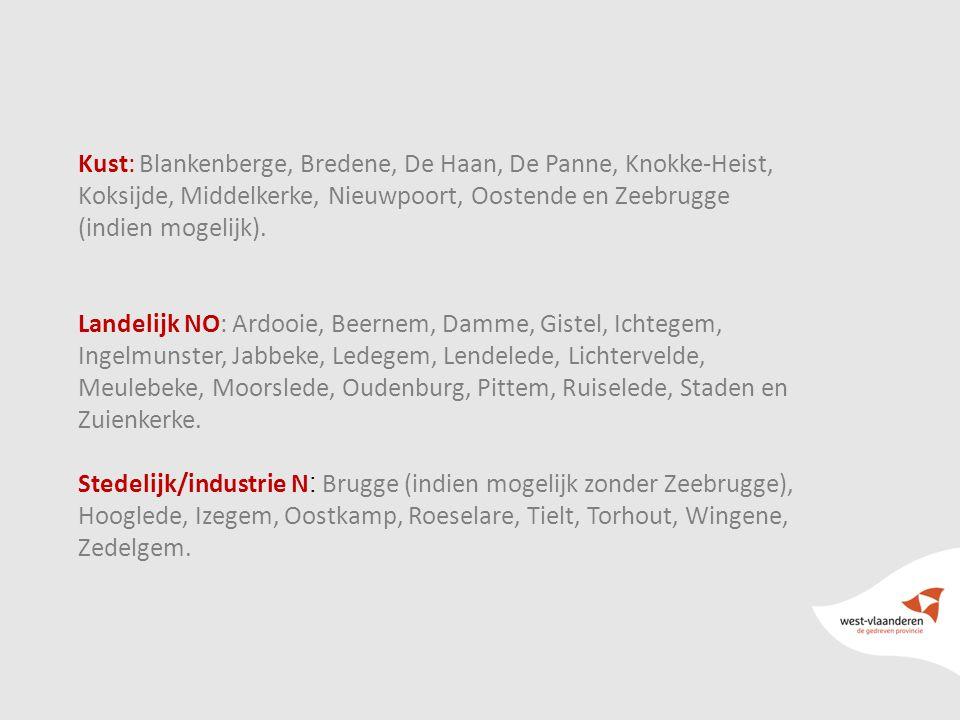 7 Kust: Blankenberge, Bredene, De Haan, De Panne, Knokke-Heist, Koksijde, Middelkerke, Nieuwpoort, Oostende en Zeebrugge (indien mogelijk).