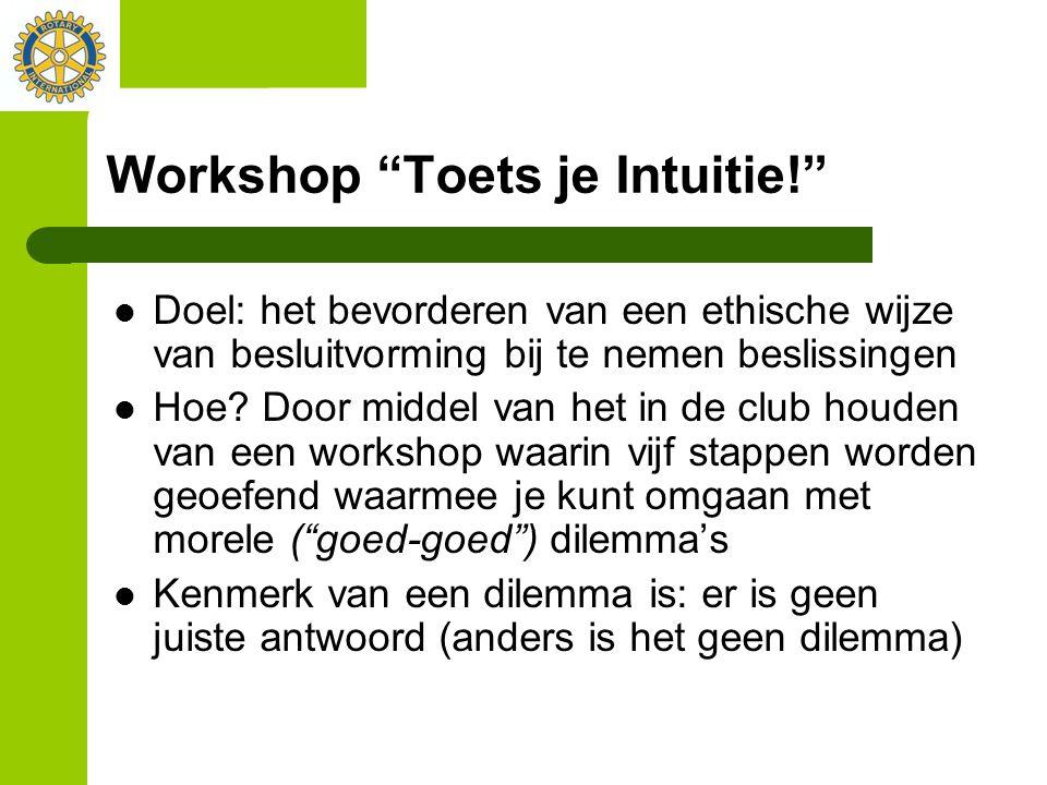 """Workshop """"Toets je Intuitie!"""" Doel: het bevorderen van een ethische wijze van besluitvorming bij te nemen beslissingen Hoe? Door middel van het in de"""