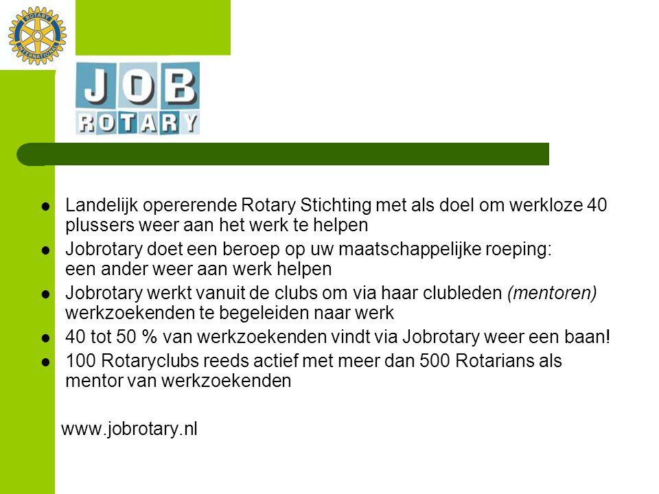 Landelijk opererende Rotary Stichting met als doel om werkloze 40 plussers weer aan het werk te helpen Jobrotary doet een beroep op uw maatschappelijk