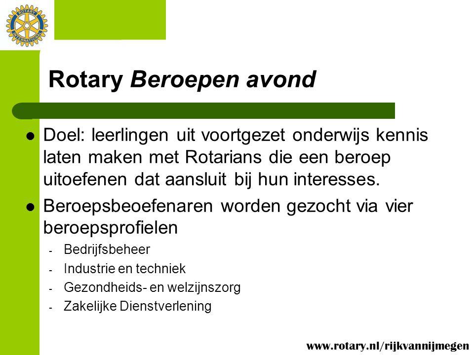 Rotary Beroepen avond Doel: leerlingen uit voortgezet onderwijs kennis laten maken met Rotarians die een beroep uitoefenen dat aansluit bij hun intere