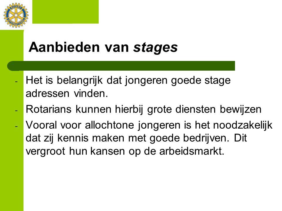 Aanbieden van stages - Het is belangrijk dat jongeren goede stage adressen vinden. - Rotarians kunnen hierbij grote diensten bewijzen - Vooral voor al