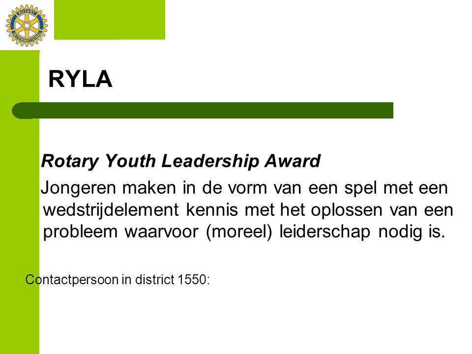 RYLA Rotary Youth Leadership Award Jongeren maken in de vorm van een spel met een wedstrijdelement kennis met het oplossen van een probleem waarvoor (moreel) leiderschap nodig is.