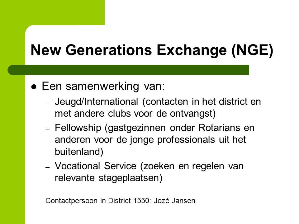 New Generations Exchange (NGE) Een samenwerking van: – Jeugd/International (contacten in het district en met andere clubs voor de ontvangst) – Fellows